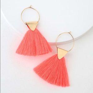 Lulus Neon Pink Tassel Earrings